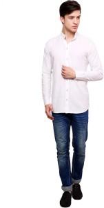 Dennis Lingo Men's Solid Casual White Shirt