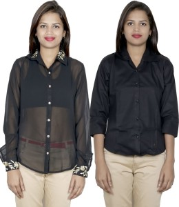 IndiStar Women's Embroidered, Solid Formal Black, Black Shirt