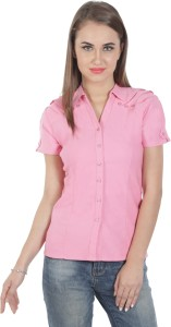Protzen Women's Solid Formal Pink Shirt