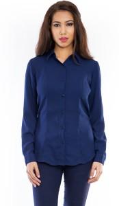 Femninora Women's Solid Formal Dark Blue Shirt