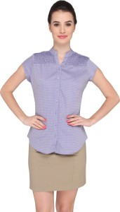 Bombay High Women's Solid Formal Blue Shirt