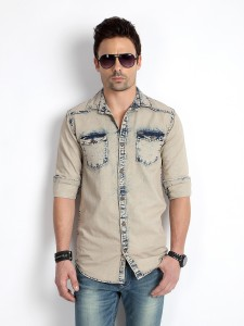 f4d42873 Rodid Men s Solid Casual Denim Beige Shirt Best Price in India | Rodid Men  s Solid Casual Denim Beige Shirt Compare Price List From Rodid Casual Party  Wear ...