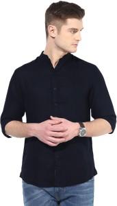 ELEPANTS Men's Solid Casual Linen Dark Blue Shirt