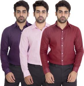 Deeksha Men's Solid Casual Maroon Shirt