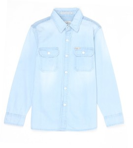 6e7c27a5e60 Pepe Jeans Girls Solid Casual Blue Shirt Best Price in India