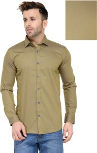 Being Fab Men's Geometric Print Casual Beige Shirt