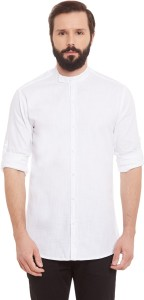 Wild Hunk Men's Solid Casual White Shirt