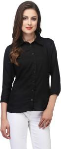 Be-Beu Women's Solid Casual Black Shirt
