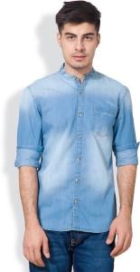 Highlander Men's Solid Casual Denim Blue Shirt