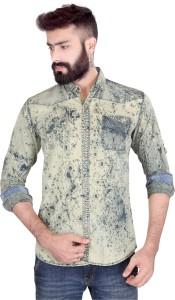 Vintage Soul Men's Self Design Casual Green Shirt