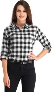 ALC Creations Women's Checkered Casual White, Black Shirt
