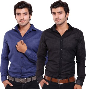 Deeksha Men's Solid Casual Blue, Black Shirt