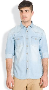 Highlander Men's Solid Casual Denim Light Blue Shirt