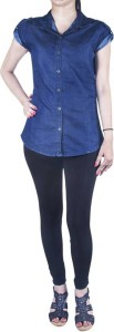 trendyfrog Girl's Solid Casual Denim Blue Shirt