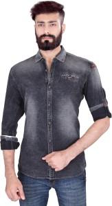 Vintage Soul Men's Solid Casual Denim Black Shirt