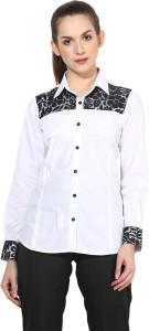 Dazzio Women's Solid Formal White, Black Shirt