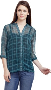 Mask Lifestyle Women's Checkered Casual Green Shirt