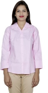 IndiStar Women's Solid Formal Pink Shirt