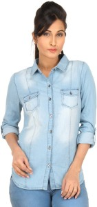 Eimoie Women's Solid Casual Blue Shirt