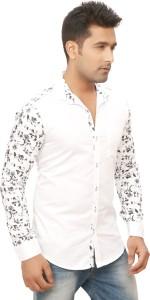 Nu Abc Men's Floral Print Casual White Shirt