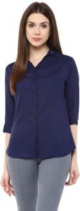 Mayra Women's Solid Party Dark Blue Shirt