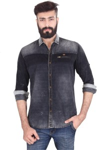 Vintage Soul Men's Self Design Casual Denim Black Shirt