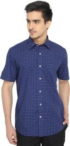 Jade Blue Men Checkered Casual Blue Shirt