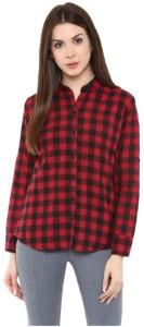 Gsa Enterprises Women's Checkered Casual Red, Black Shirt