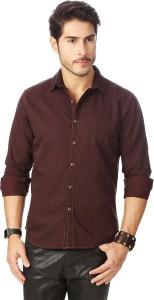 Rodid Men's Solid Casual Denim Brown Shirt