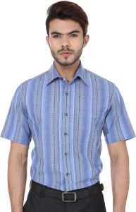 Reevolution Men's Striped Casual Blue Shirt