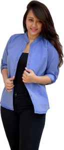 Aarti Collections Women's Solid Casual Denim Light Blue Shirt