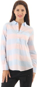 Vero Moda Women's Striped Casual Light Blue Shirt