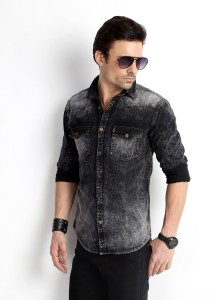 776e104b Rodid Men s Solid Casual Denim Black Shirt Best Price in India ...
