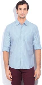 Lee Men's Striped Casual White, Blue Shirt