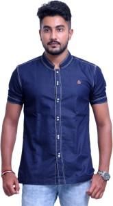 PP Shirts Men's Solid Party Denim Blue Shirt
