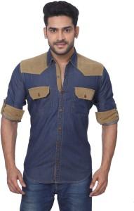 GlobalRang Men's Solid Casual Denim Blue Shirt