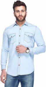Tinted Men's Solid Casual Denim Light Blue Shirt