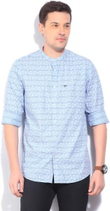 Arrow Sports Men's Printed Casual Blue Shirt