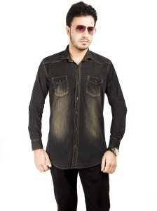 Mitra Creations Men's Solid Casual Denim Black Shirt