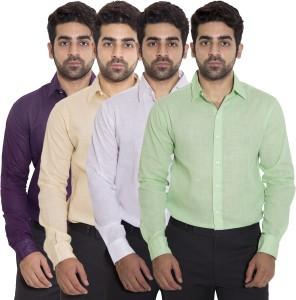 Deeksha Men's Solid Casual Purple Shirt