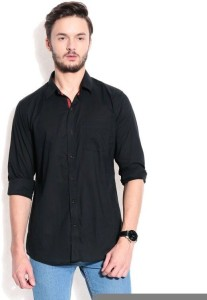 Street Junkies Men's Solid Casual Black Shirt
