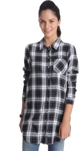 Only Women's Checkered Casual Black Shirt