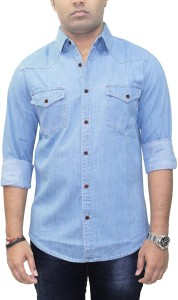 Southbay Men's Solid Casual Denim Blue, Dark Blue Shirt