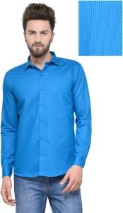 Being Fab Men's Polka Print Casual Light Blue Shirt
