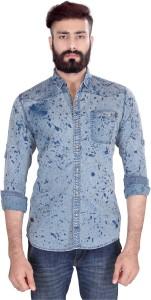 Vintage Soul Men's Self Design Casual Blue Shirt