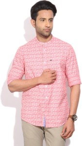 Arrow Sports Men's Printed Casual Pink Shirt
