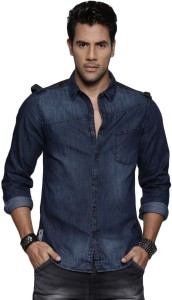 c7af1267f0f Roadster Men s Solid Casual Blue Shirt Best Price in India ...