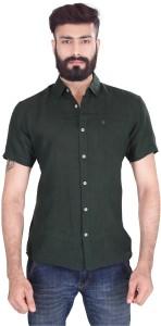 Vintage Soul Men's Solid Casual Linen Green Shirt