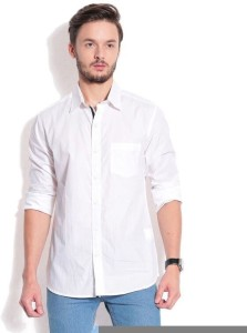 Street Junkies Men's Solid Casual White Shirt