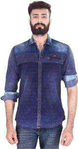 Vintage Soul Men's Self Design Casual Denim Blue Shirt